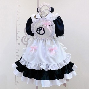2021新品メイド服 クラッシク 黒白 猫手柄