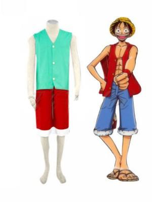 ワンピースモンキー.D.ルフィのコスプレ衣装(緑)
