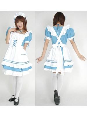 水色メイド服 コスチューム衣装 制服 コスチュームコスプレ衣装