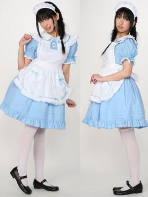 水色メイド服 超可愛いコスチューム衣装 制服 コスプレ衣装