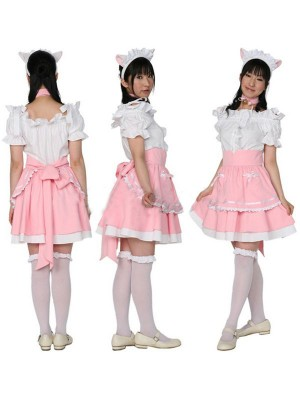 可愛いメイド服販売 ピンク&白 猫耳の様なカチューシャ衣装