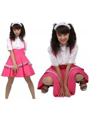 Cosplay2段フリルメイド服 サスペンダーコスチューム衣装