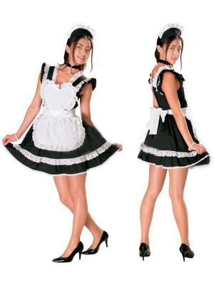 白いレース付きメイド服通販  ハートメイドコスチューム衣装