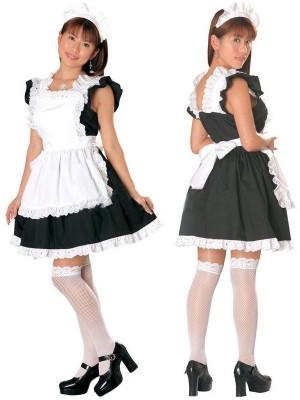 レース付きメイド服通販 黒&白 可愛い衣装