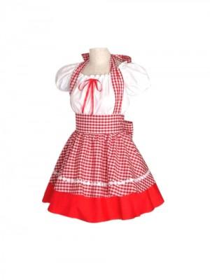 赤いチェックのメイドコスプレ衣装 Lolita