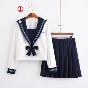 制服 jk コスプレ衣装 日常風 セーラー服 蝶ネクタイ 雪花 2本線の襟