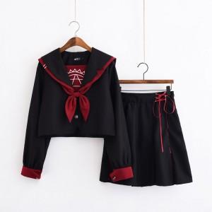 制服 jk コスプレ衣装 日常風 セーラー服 蝶ネクタイ 黒赤 不良風