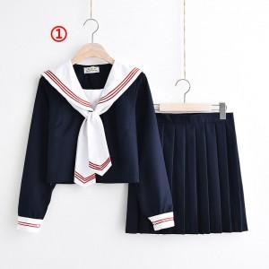 制服 jk コスプレ衣装 日常風 セーラー服 3本線の襟 紺色 白襟