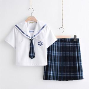制服 jk コスプレ衣装 清楚 セーラー服 3本線の襟 紺色 白襟