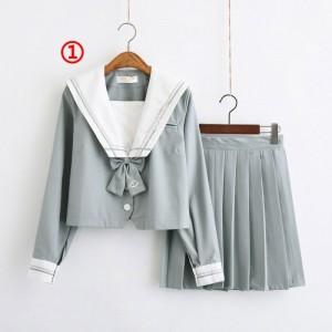 制服 セーラー服(2本線の襟) jk コスプレ衣装 日常風  高校生 学生 中学 女子校生 通学 学校 スクール 学生服