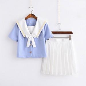 制服 jk コスプレ衣装 日常風 セーラー服 高校生 学生 中学 女子校生 通学 学校 スクール 学生服 青色
