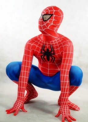 レッドとブルーのスパイダーマン全身タイツ