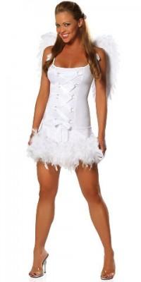 ホワイト マラボー付き リボン 天使風 セクシーコスチューム衣装
