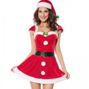 前結びリボンのクリスマス衣装 サンタさんコスプレ コスチューム
