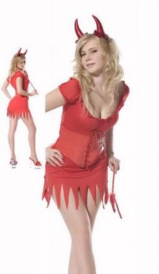 赤 セクシー スバンデックス 悪魔風 コスチューム衣装
