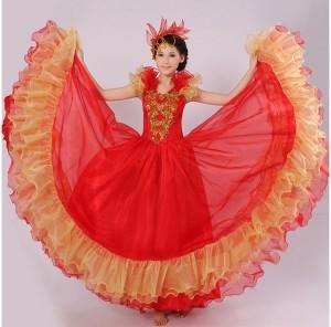 舞台演出服 ダンス服 大きい裾 ワンピース 赤+金