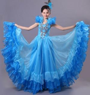 舞台演出服 ダンス服 大きい裾 ワンピース ブルー