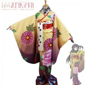 魔法少女まどか☆マギカ劇場版 暁美ほむら(あけみ ほむら) 着物 プリント和服 コスプレ衣装