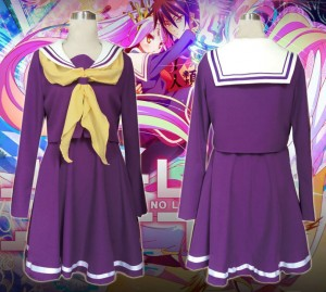No Game No Life ノーゲーム・ノーライフ 妹 しろ 白(しろ) コスプレ衣装 紫セーラー服 コスチューム 高品質