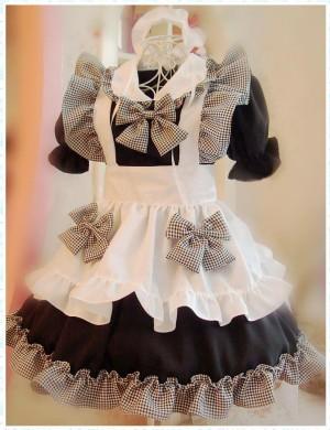 可愛いメイド服 可愛い裾 コスプレ衣装 蝶結び メイドドレス