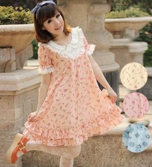 可愛いロリータドレス シフォン半袖ワンピース コスチューム Lolita