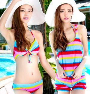水着レディース 小さな胸が集まる スプリットスカート4点のセット 着痩せ 体型カバー 温泉水着