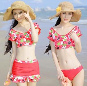 スプリットスカート3点のセット 少女用の水着 小さな胸が集まる水着 着痩せ 半袖 可愛い
