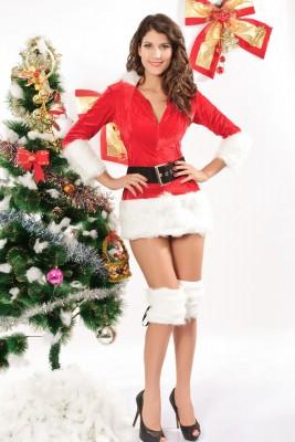 レッド長袖クリスマス衣装 サンタコスチューム