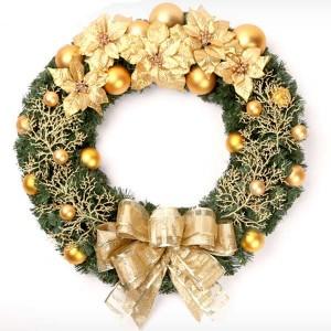 クリスマス 飾り パーティー グッズ オーナメント 金色枯れた葉、蝶結び