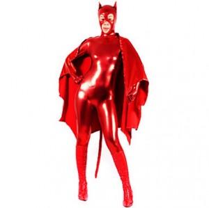 レッド 純色 シャイニー メタリック 女性 スパンデックス キャットスーツ衣装