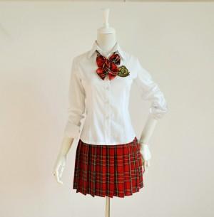 学生服コスチューム 女子高生制服 4点セット/長袖ホワイトシャツ  セーラー服  コスチューム学生服/女子学生制服