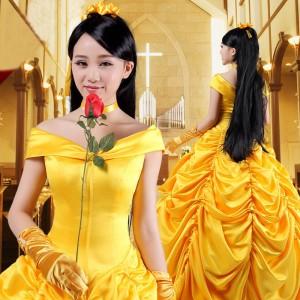 ディズニープリンセス風/美女と野獣/ベル/ドレス/コスプレ衣装/コスチューム