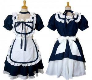 コスプレ衣装 メイド衣装 可愛い4点セット 黒/紺