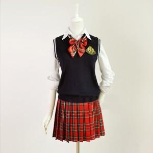 コスプレ 制服 女子高校生   コスチューム 4点セット ブレザー 衣装 ランジェリー 赤