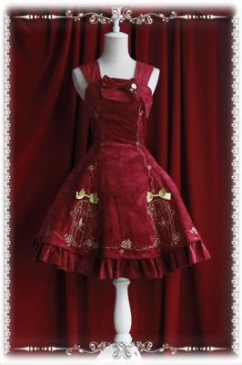 刺繍ジャンパースカート ゴスロリ ロリータ パンク コスプレ コスチューム メイド 衣装